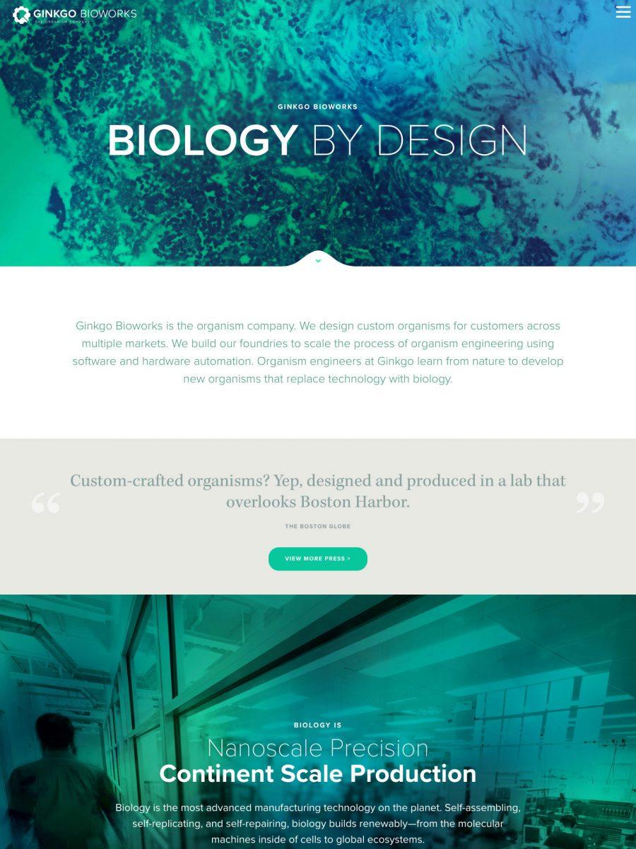 Ginkgo Bioworks Homepage
